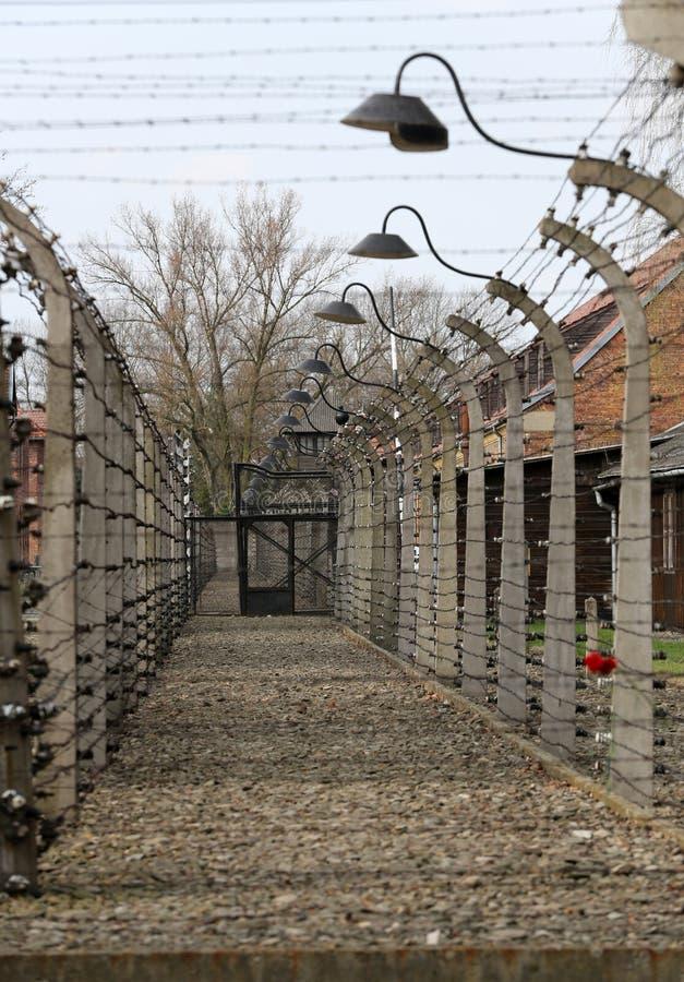 Cerca eléctrica en el campo de concentración nazi anterior Auschwitz I, fotos de archivo libres de regalías