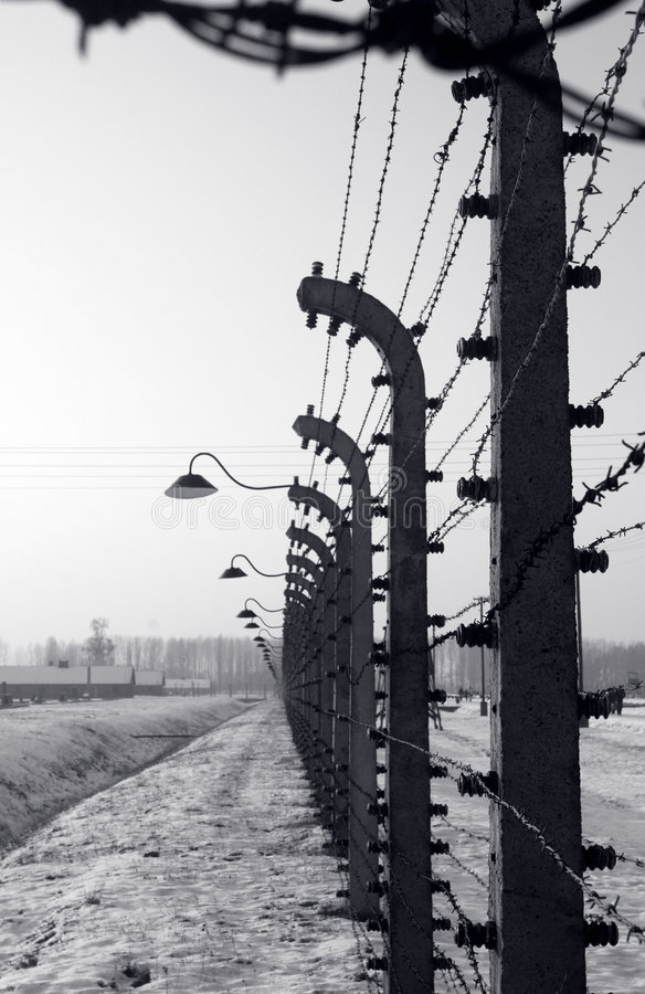 Cerca em Auschwitz imagens de stock royalty free