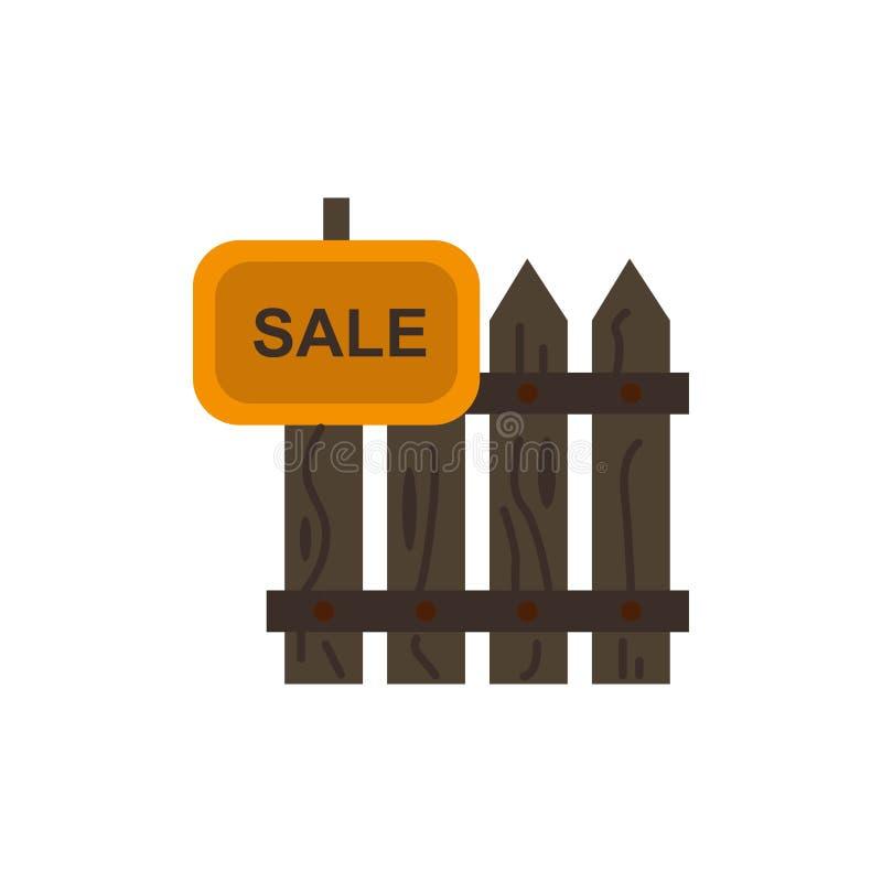 Cerca, madera, bienes raices, venta, jardín, icono plano del color de la casa Plantilla de la bandera del icono del vector libre illustration