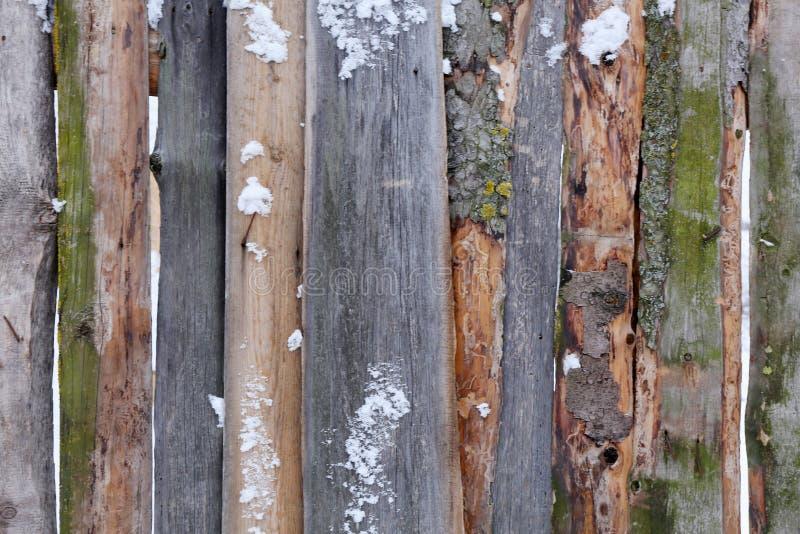 Cerca marrón de madera de tableros ásperos en la nieve foto de archivo libre de regalías