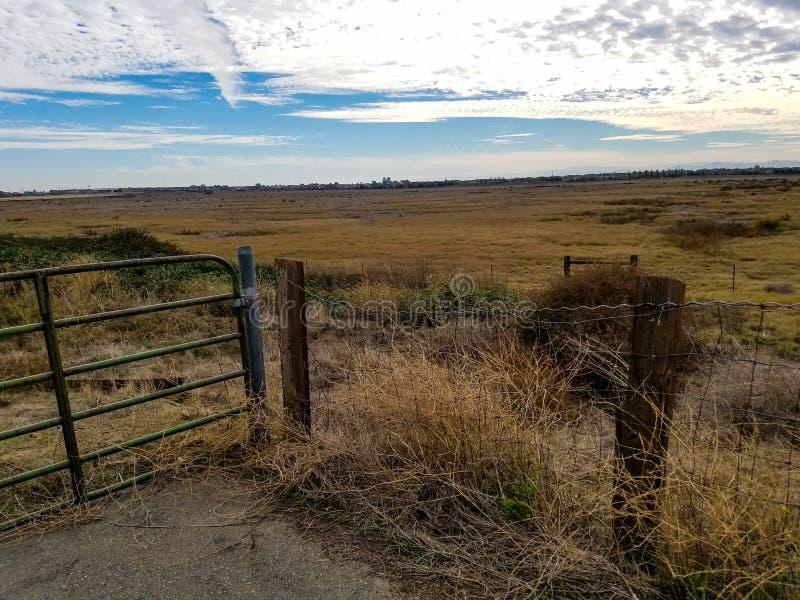 Cerca no prado para manter dentro as vacas e as cabras fotografia de stock royalty free