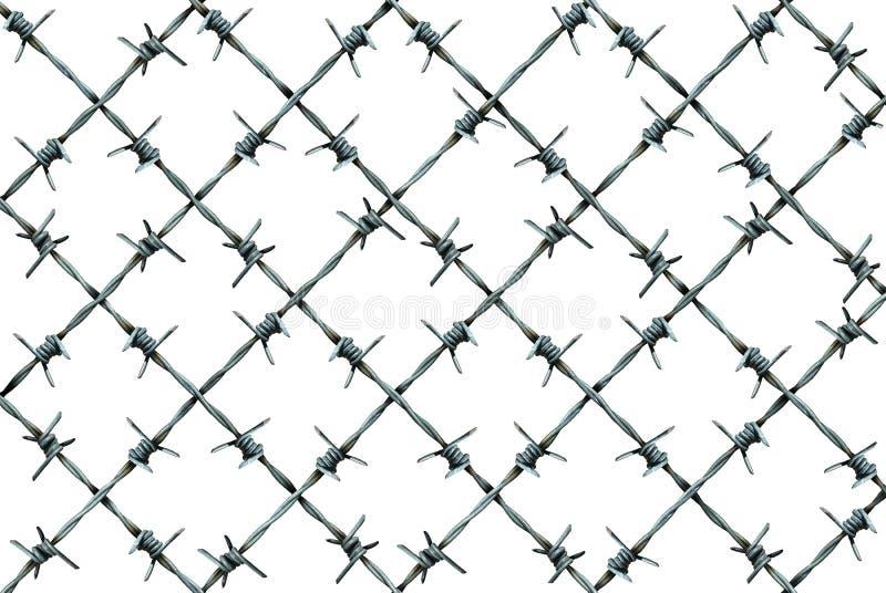 Cerca Pattern del alambre de púas ilustración del vector