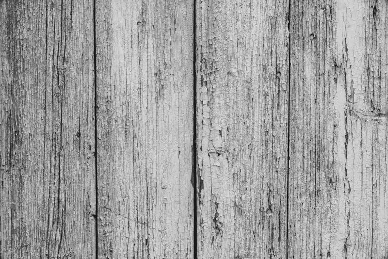 Cerca rústica pintada branca velha no estilo do vintage fundo de madeira retro da textura Tabela de madeira cinzenta Superfície d fotografia de stock