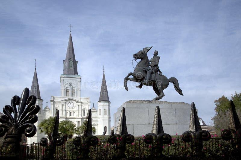 Cerca Saint Louis Cathedral Statue del hierro labrado de Andrew Jackson fotos de archivo libres de regalías