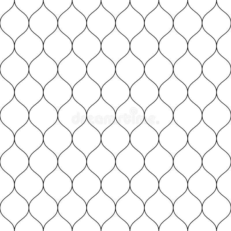 Cerca sem emenda da rede prendida Ilustração preta simples do vetor no fundo branco ilustração royalty free