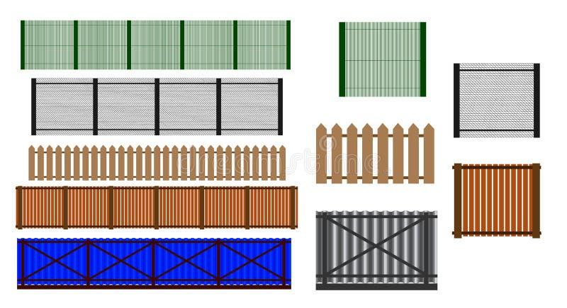 Cerca Set Diversos dise?os de ejemplo de las cercas y de las paredes stock de ilustración