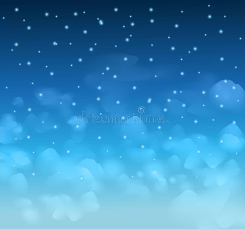 Cerca un cielo azul mágico con las estrellas y el delecate se nubla stock de ilustración