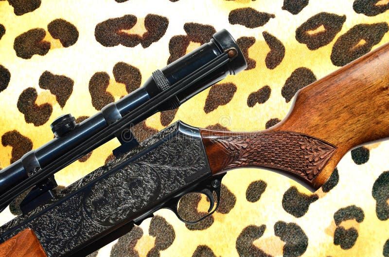 Cercando concetto - struttura della pelliccia della pistola e del leopardo del fucile fotografie stock