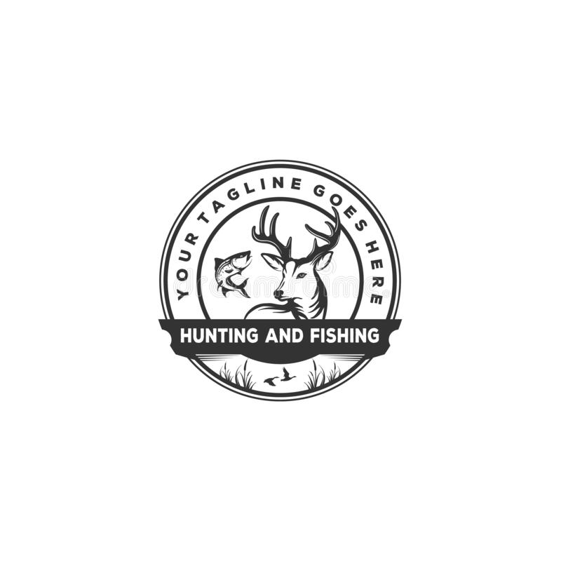 Cercando e pescando il fondo di vettore, idea d'annata con l'illustrazione del pesce, dei cervi e dell'anatra illustrazione vettoriale