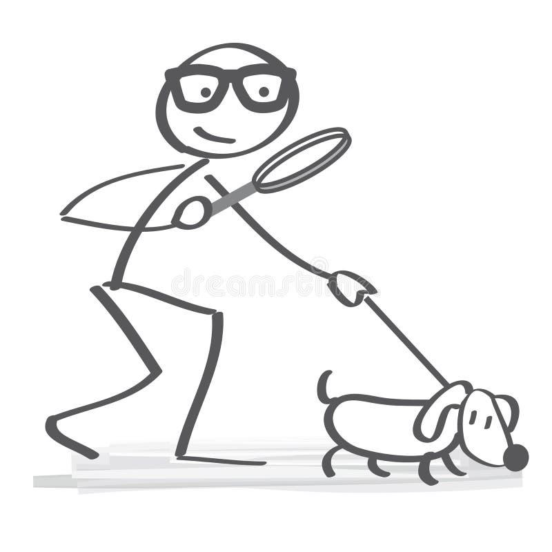 Cercando l'illustrazione di concetto con lo stickfigure ed insegua la a royalty illustrazione gratis