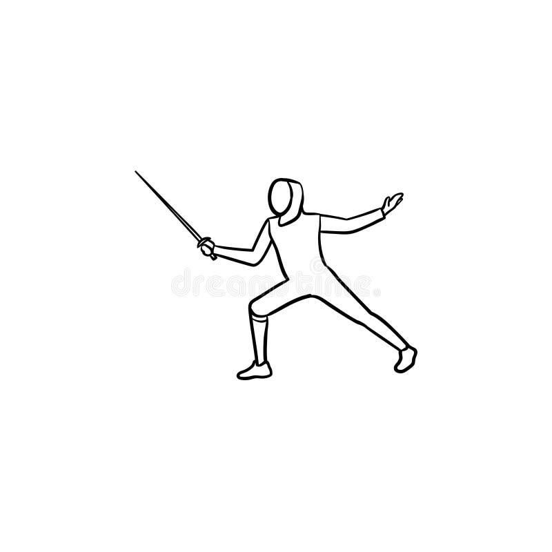Cercando o ícone tirado mão da garatuja do esboço ilustração do vetor