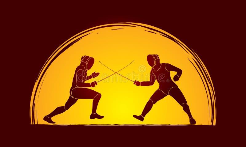 Cercando o vetor do gráfico do lutador ilustração do vetor