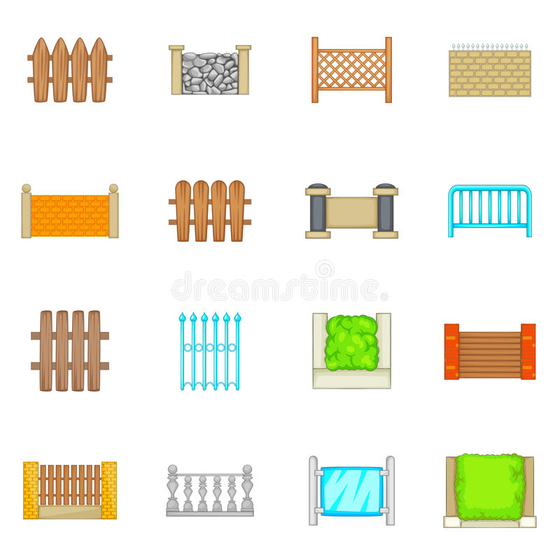 Cercando os ícones dos módulos ajustados, estilo dos desenhos animados ilustração do vetor