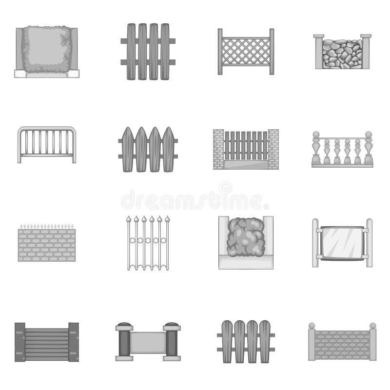 Cercando os ícones dos módulos ajustados monocromáticos ilustração stock