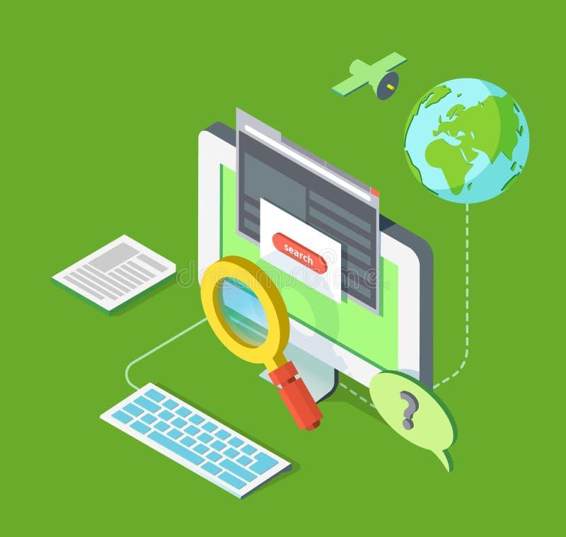 Cercando sul web illustrazione di stock