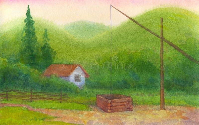 Cercano bien viejo una cabina sola en las montañas stock de ilustración