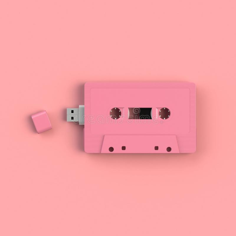 Cercano para arriba de memoria USB en el ejemplo rosado del concepto del casete de cinta de audio del vintage aislado en fondo ro fotos de archivo