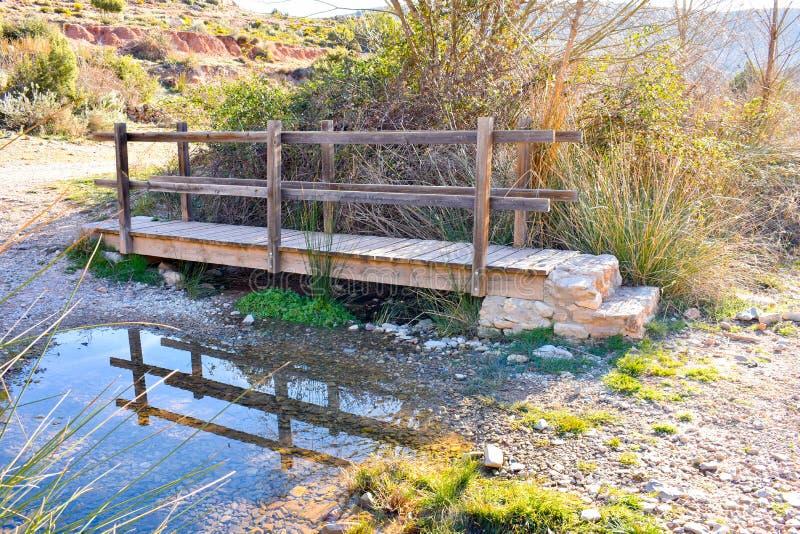 cercano para arriba de un puente de madera en un un mont?n del r?o de hierbas y de precipitaciones en la luz soleada de la salida fotografía de archivo libre de regalías