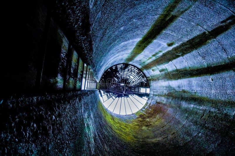 Cercare un vecchio silo di grano abbondato nel parco forte di Steilacom, tum fotografie stock libere da diritti