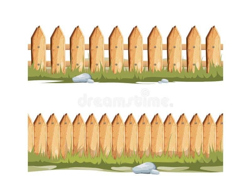 Cercas de madeira com grama e pedras Fundo sem emenda dos desenhos animados do vetor ilustração stock