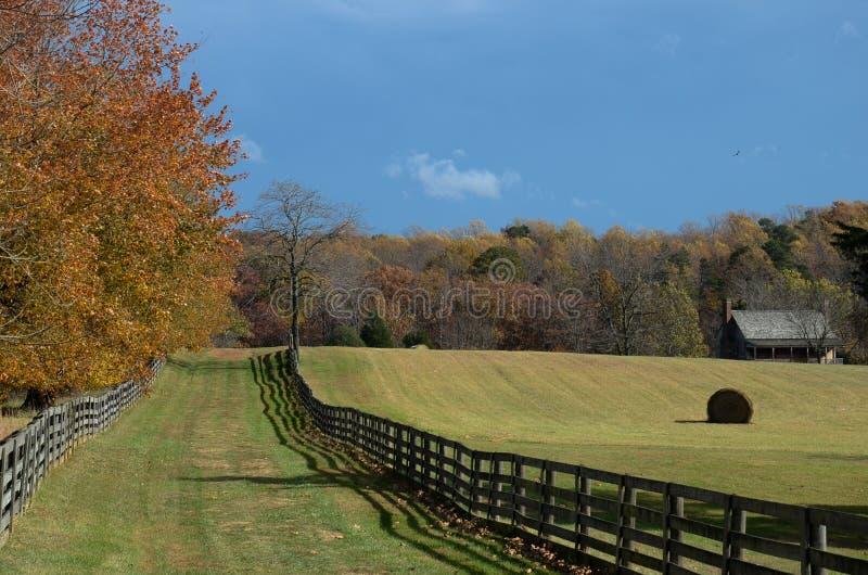 Cercas do separação-trilho e campos de exploração agrícola empilhados - Appomattox, Virgínia imagem de stock royalty free