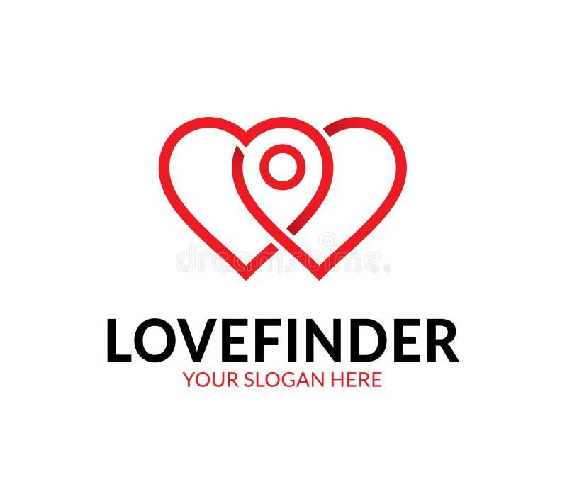 Cercatore Logo Template di amore illustrazione vettoriale