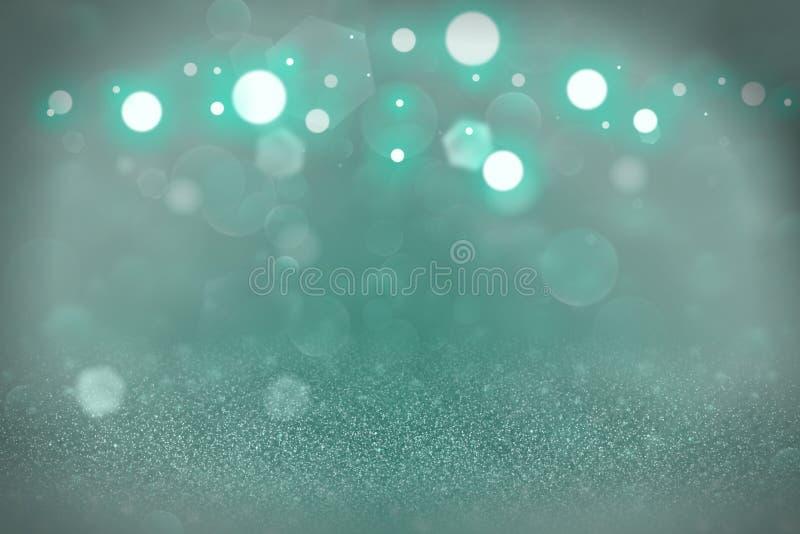 A cerceta, brilho brilhante bonito mar-verde ilumina o fundo defocused do sumário do bokeh, textura festal do modelo com espaço v ilustração do vetor