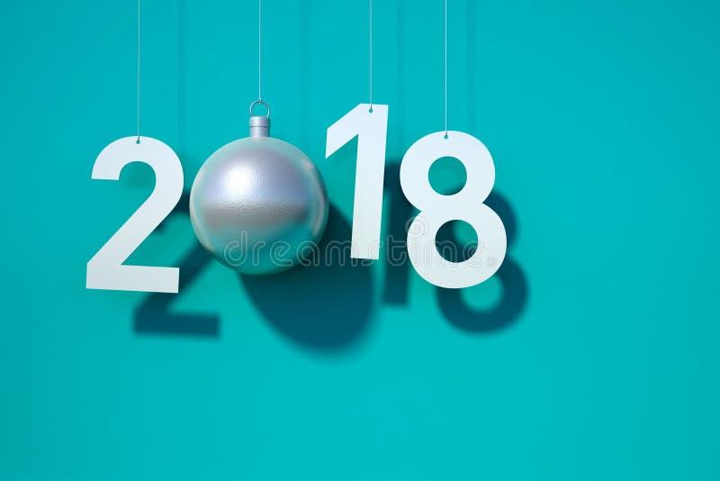 Cerceta do fundo do cartão do ano 2018 novo ilustração do vetor