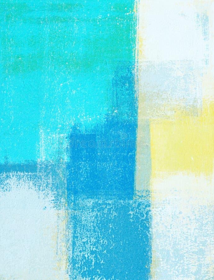 Cerceta e amarelo Art Painting abstrato foto de stock
