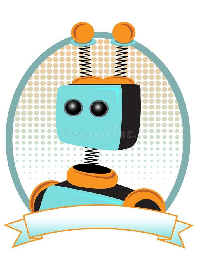 Cerceta e estilo alaranjado do anúncio de produto do retrato do robô ilustração royalty free