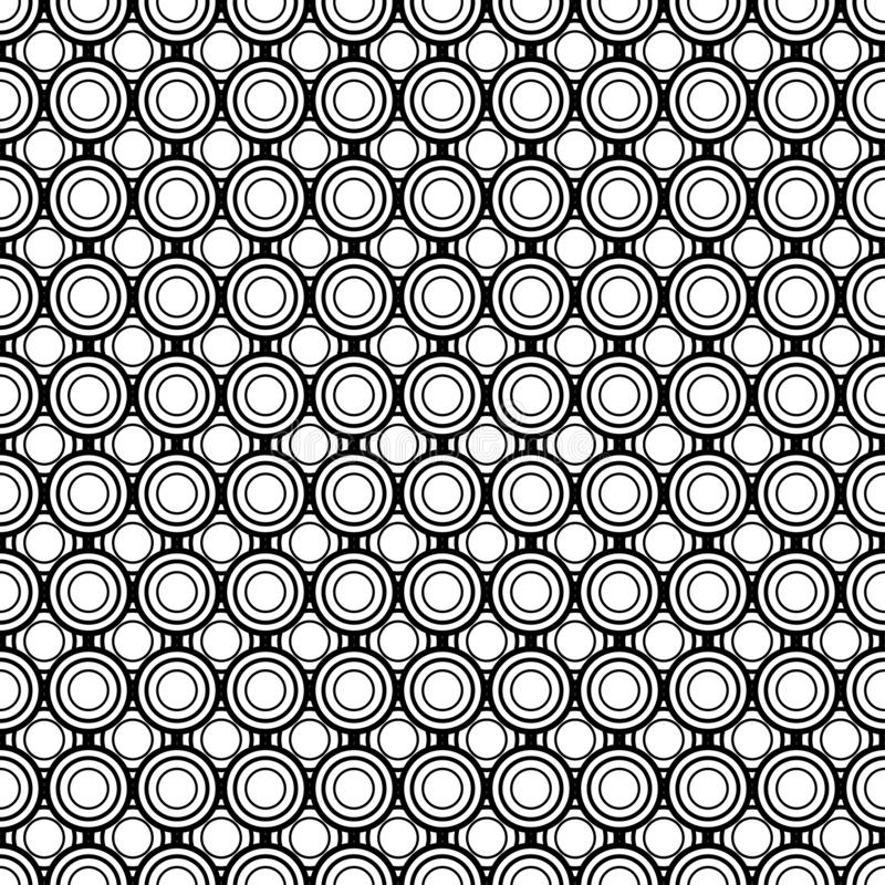 Cerchi astratti, modello senza cuciture geometrico, mattonelle rotonde, illustrazione in bianco e nero, struttura della palla del illustrazione vettoriale
