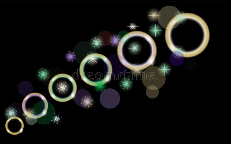 Cerchi astratti, multicolori, al neon, luminosi, d'ardori, palle, bolle, pianeti con le stelle su un fondo nero di spazio illustrazione vettoriale