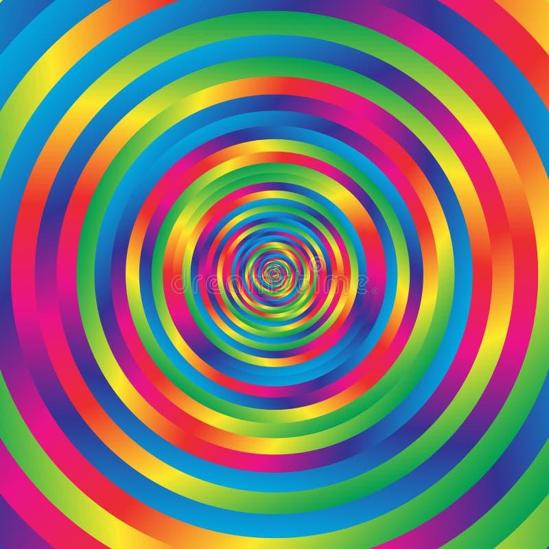 Cerchi casuali variopinti concentrici di spirale w Circolare astratta p illustrazione vettoriale