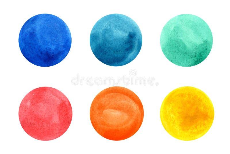 Cerchi colorati dell'acquerello illustrazione vettoriale