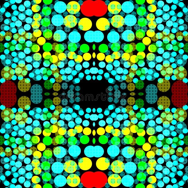 Cerchi colorati luminosi su un fondo geometrico del fondo scuro illustrazione vettoriale