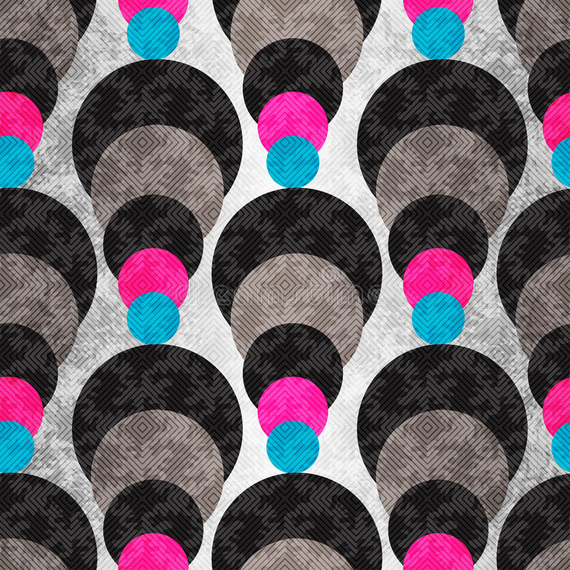Cerchi colorati su un fondo grigio con illuminazione Reticolo geometrico senza giunte illustrazione vettoriale