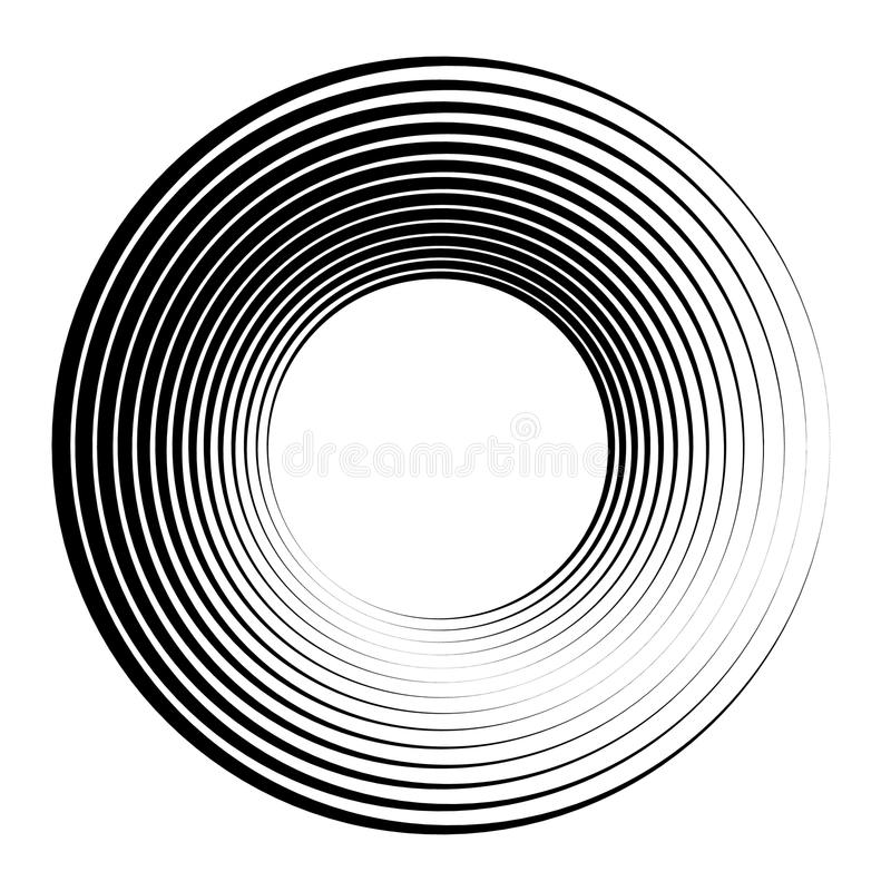 Cerchi concentrici, anelli concentrici Grafici radiali astratti royalty illustrazione gratis