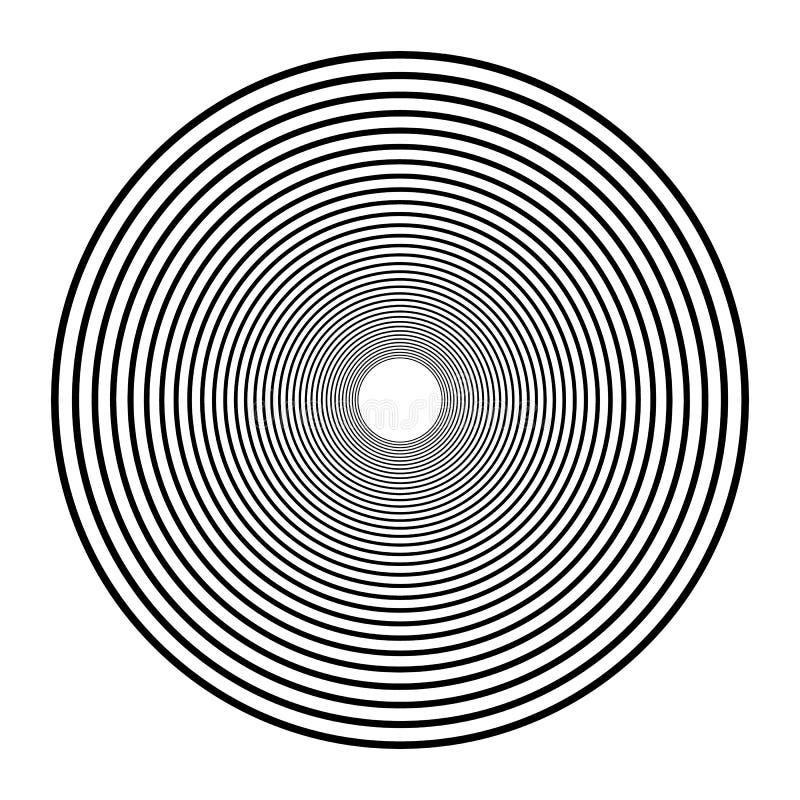Cerchi concentrici, anelli concentrici Grafici radiali astratti illustrazione di stock