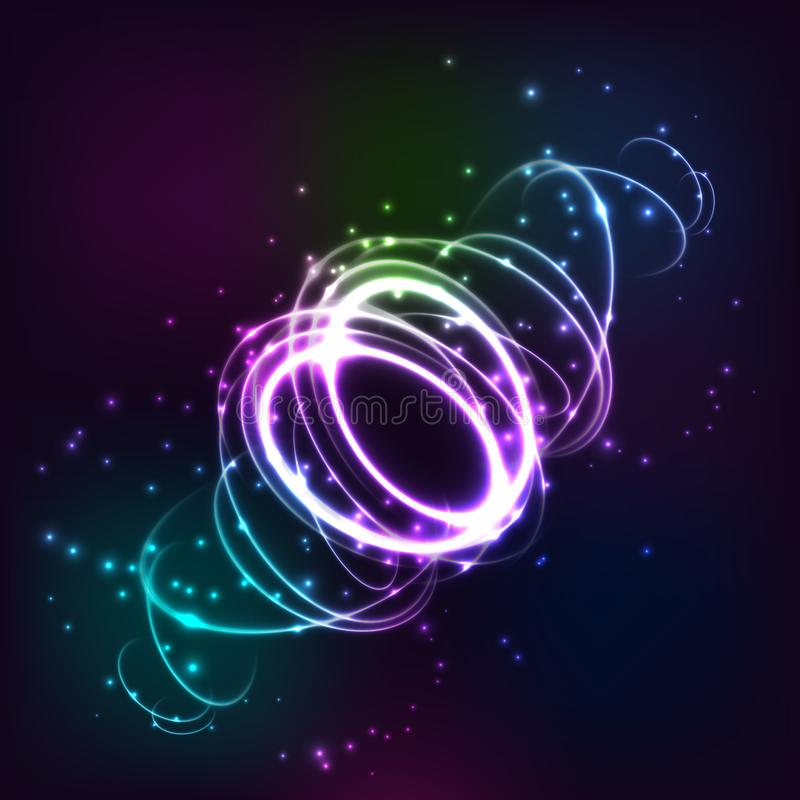 Cerchi confusi al neon a moto Traccia luminosa astratta di turbinio, effetto lento di tempo di otturazione Pittura chiara luci illustrazione di stock