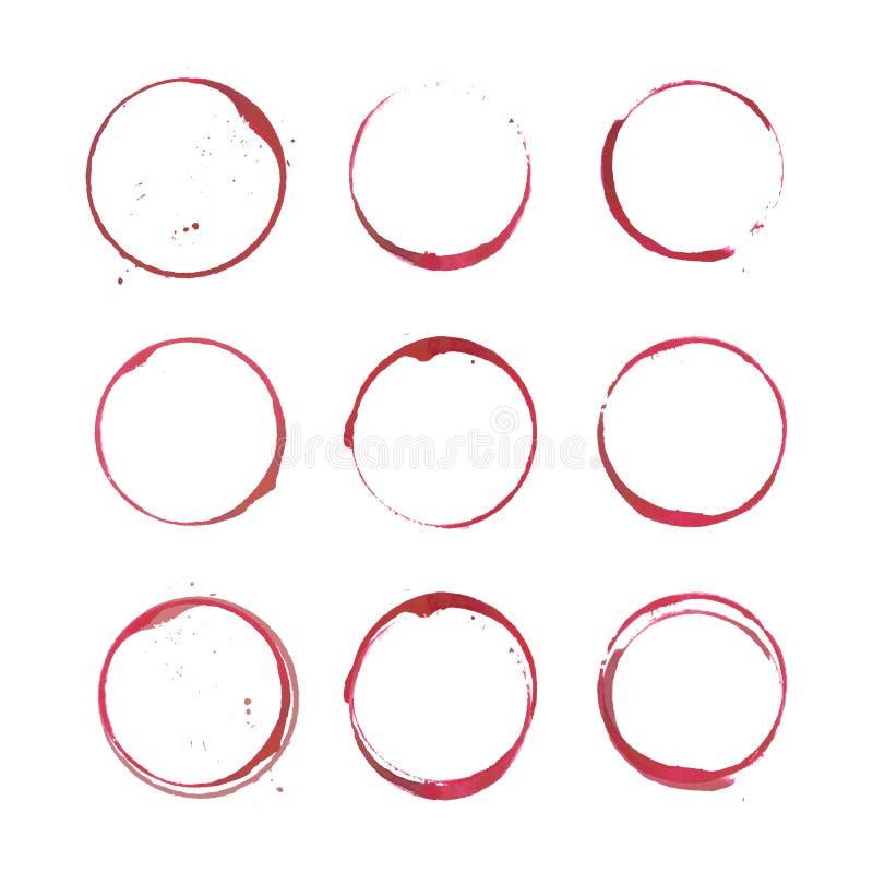 Cerchi della macchia del vino illustrazione vettoriale
