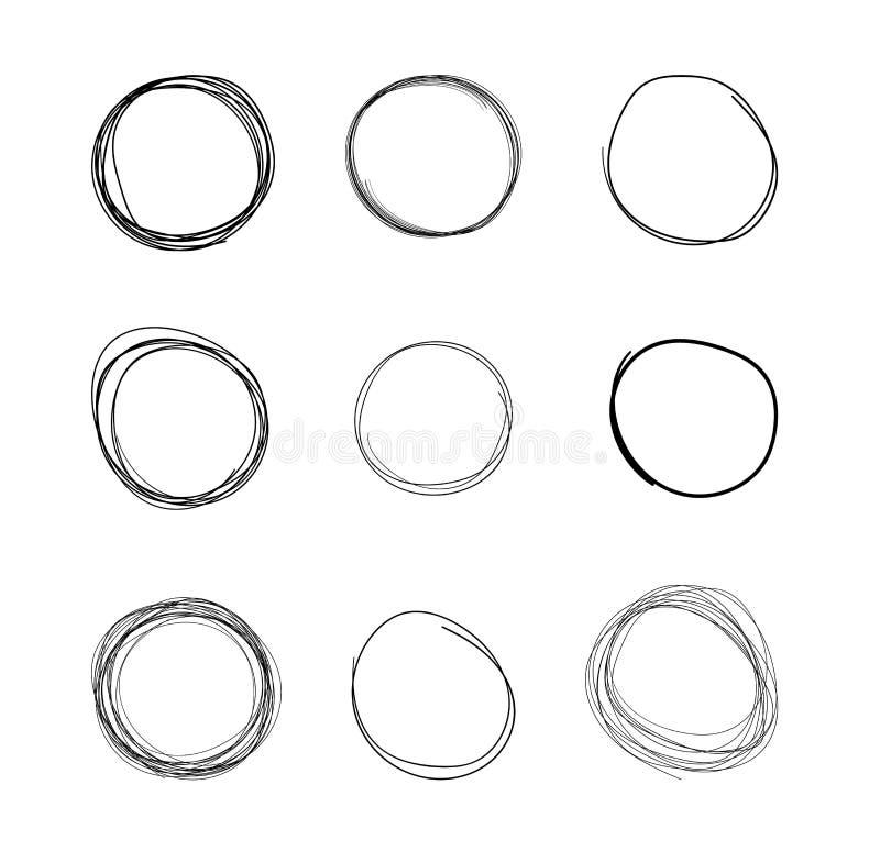 Cerchi dello scarabocchio di vettore, disegni a mano libera isolati su fondo bianco, nero illustrazione vettoriale