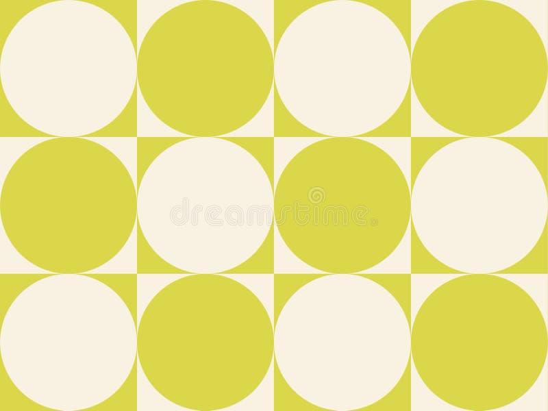 Cerchi di arte op su verde giallastro dei quadrati illustrazione vettoriale