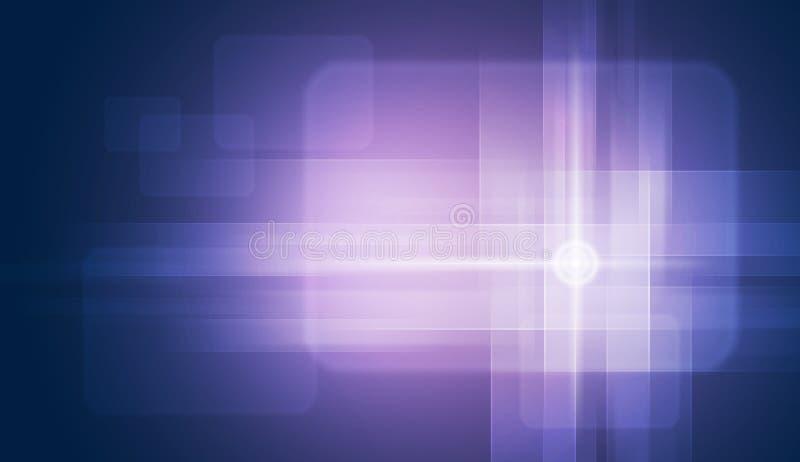 Cerchi di incandescenza sul fondo blu di pendenza illustrazione di stock