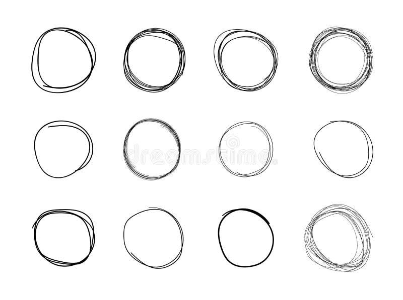 Cerchi disegnati a mano di vettore, forme rotonde in bianco nere isolati su fondo bianco illustrazione vettoriale