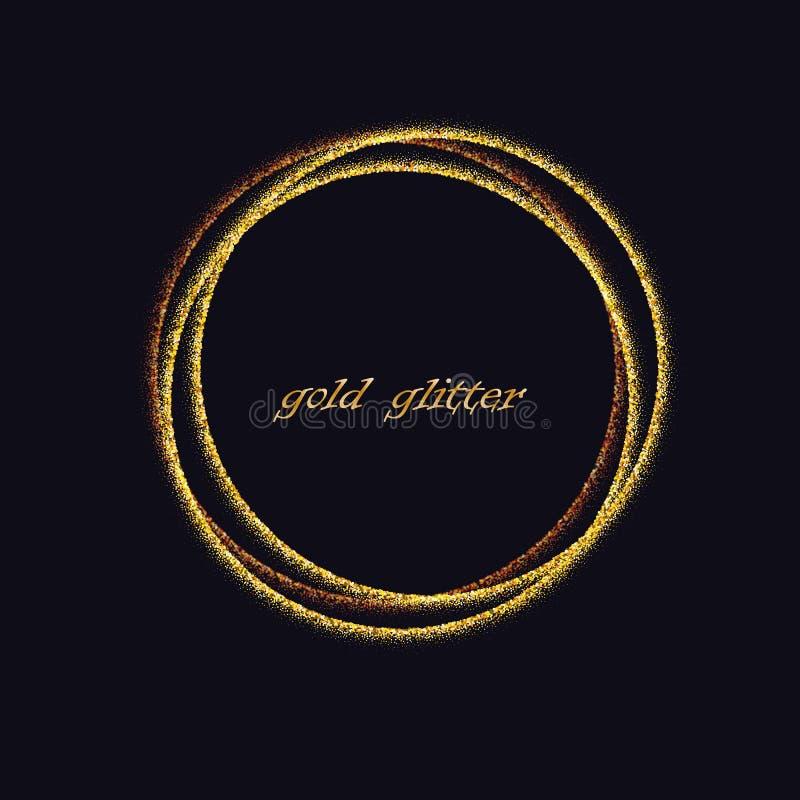 Cerchi dorati Elemento di progettazione della decorazione di struttura di doratura della stagnola di oro Fondo festivo per il nuo royalty illustrazione gratis