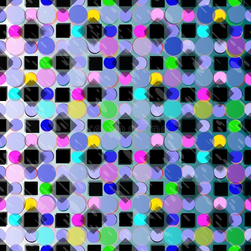 Cerchi e carta da parati psichedelica del fondo di vettore dei quadrati illustrazione di stock