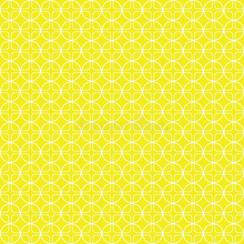 Cerchi e modello senza cuciture gialli dei quadrati, fondo giallo, illustrazione di vettore illustrazione di stock