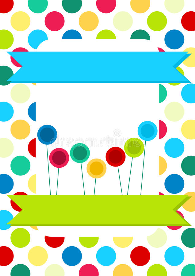 Cerchi e scheda dell'invito dei Lollipops illustrazione vettoriale