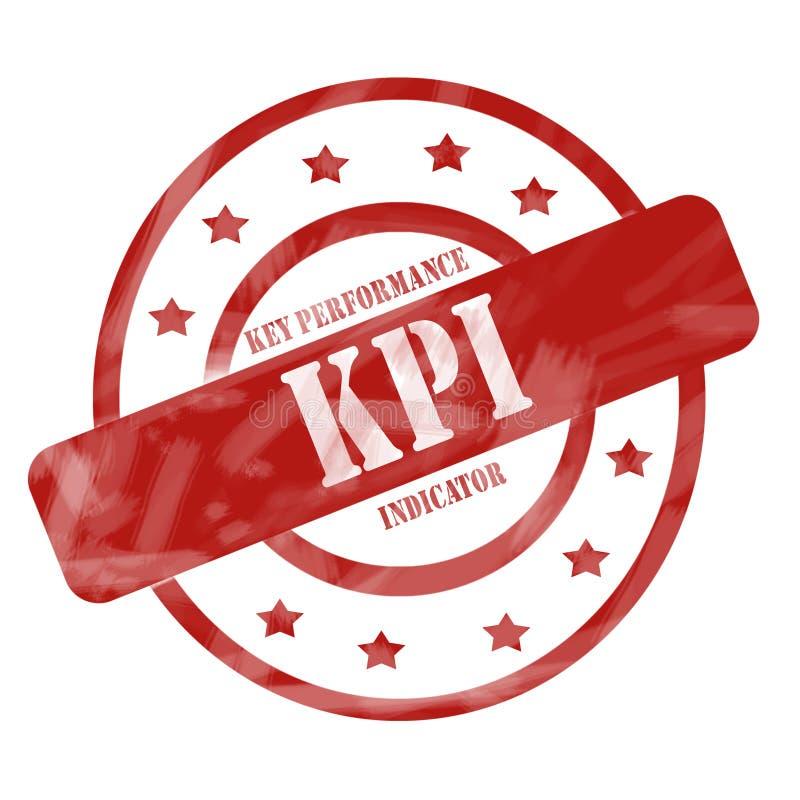 Cerchi e stelle stagionati rossi del bollo di KPI fotografie stock