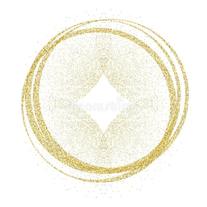 Cerchi ed anelli dorati Elemento di progettazione della decorazione di struttura di doratura della stagnola di oro Fondo festivo  illustrazione vettoriale